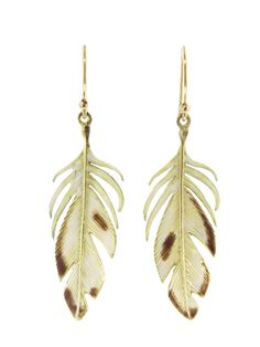Large Feathers Earrings With Enamel