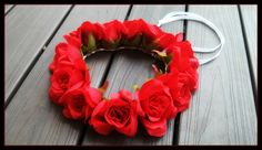 Red Rose Flower Crown Headband renaissance Flamenco  Floral Headpiece Frida Kahlo hula haku festival large big coachella edm