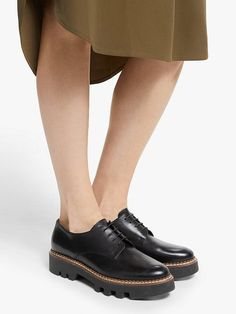 Kin Fayth Lace Up Leather Flatform Brogues, Black
