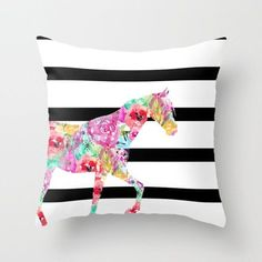 Horse Throw Pillow Cover, Watercolor Floral Pillow, Horse Decor, Black White with color pop Accent Pillow Cover Decorative Pillow Cover Rustic Decorative Pillows, Decorative Pillow Covers, Throw Pillow Covers, Cushion Covers, White Throw Pillows, Floral Throw Pillows, Toss Pillows, Accent Pillows, Colorful Pillows