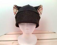Gray Cat Hat Fleece Kitty Cat Hat Cat Ear Hat Feline Hat