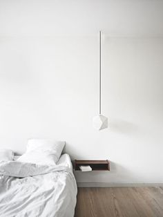 = white, pendant and bedside shelf = architect pernille arends