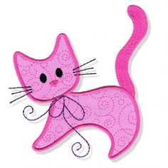 Swirly Kitty Applique 1 - 3 Sizes! Pink