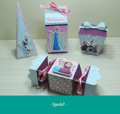 Papelaria Personalizada - Tema Frozen  Caixa Milk, Sushi, Cone e Bala