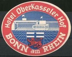 Bonn, Hotel Oberkasseler Hof, Wappen und Hotelgebäude Luggage Stickers, Chicago Cubs Logo, Team Logo, Logos, Bonn, Crests, Logo