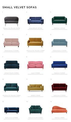 Small Velvet Sofas - Velvet is having a moment and this is one trend small space dwellers can embrace. Here's a round up of 15 of our favourites. Which one will you pick. #velvet #sofas #smallspaces