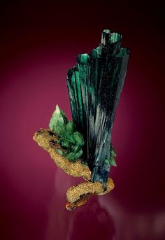 Vivianite with ludlamite on pyrite, 10.7 cm tall // 160 foot level, Huanuni Mine Dalence Province, Oruro Department, Bolivia // Steve Smale collection, Jeff Scovil photo #minerals #vivianite
