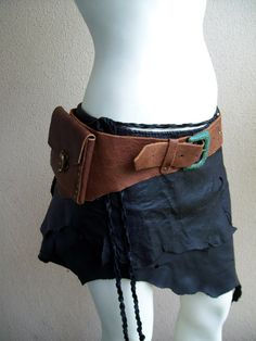 SALE  Auburn Leather Pouch Belt by ArchaicLeatherworks on Etsy, $70.00