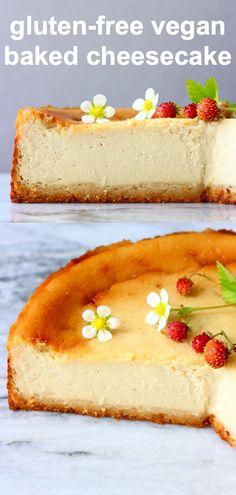 Make Ahead Desserts, Easy No Bake Desserts, Vegan Dessert Recipes, Dairy Free Recipes, Vegan Gluten Free, Gluten Free Cheesecake Crust, Sugar Free Cheesecake, Baked Cheesecake Recipe, Vegan Baking