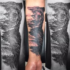 "Nature, Bear and Pine Trees Tattoo ""Tattoo'd this photo that was done by @artworkbylie hope I did it justice! Thank you /kll87/ for the fun idea and making the trip down! Done with…"""