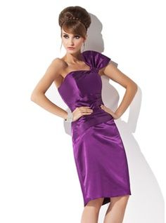 Sheath/Column One-Shoulder Knee-Length Charmeuse Cocktail Dress With Ruffle (016005836) - JJsHouse
