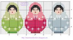 Free Matryoshka (Russian Nesting Doll) Cross Stitch Pattern / Hama Beads Chart