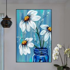 diy diamond painting flowers,full drill square/round diamond,diamond embroidery cross stitch home decor picture,diamond mosaic gifts Easy Flower Painting, Daisy Painting, Flower Painting Canvas, Diy Canvas Art, Flower Art, Flower Paintings, Easy Pictures To Paint, Simple Pictures, Home Decor Pictures