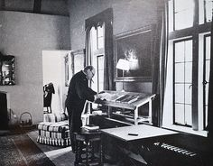 Winston Churchill and his Standing Desk: Churchill used a standing desk in his home study all his life and lived into his even though he smoked 10 cigars/day. Famous Men, Famous People, Workshop, Stand Up Desk, Home Study, Art Of Manliness, Shops, Man Room, Winston Churchill