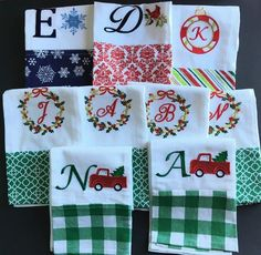 Monogrammed Dish Towel Embroidered Holiday Christmas Winter 100% Cotton NEW #Nantucket