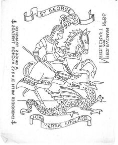 George and the Dragon embroidery pattern Hand Embroidery Designs, Vintage Embroidery, Embroidery Patterns, Crochet Patterns, George & Dragon, Saint George And The Dragon, St Georges Day, Saint Georges, Disney