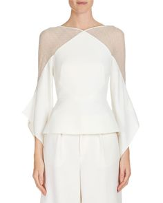 Roland Mouret Harthill Flutter-Sleeve Lace-Shoulder Top Blouse, Ivory, 10 US Style Couture, Couture Fashion, Fashion Vestidos, Fashion Dresses, Blouse Styles, Blouse Designs, Evening Tops, Fashion Details, Fashion Design