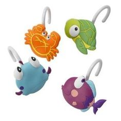 Somethings Fishy Shower Curtain Hooks Tropical Bath Decor | review | Kaboodle