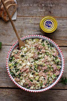 Salata de orez cu dovlecei si ton detaliu Mozzarella, Pasta Salad, Risotto, Cooking Recipes, Lunch, Ethnic Recipes, Food, Crab Pasta Salad, Chef Recipes