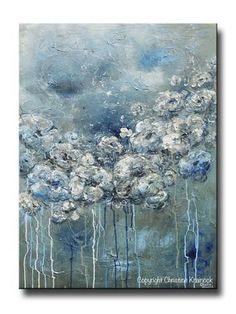 """""""Her Silent Strength"""" Contemporary #Art Large #Abstract Blue White Flowers #Painting. Modern, floral, flowers peonies roses created by brush & palette knife, coastal, fine art, canvas print of original created with specialized technique in shades of navy blue, sapphire, light blue, teal, aqua, white, grey, taupe, beige. Stunning gallery fine art on canvas, wall art, home decor. By California Artist, Christine Krainock"""