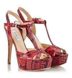 5a6881270985 Semilla Red snake-print leather T-strap stiletto heel platform sandals