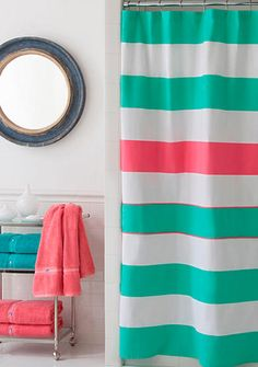 Southern Tide® Cabana Stripe Shower Curtain is perfect for your dorm or apartment -  Instantly transform the look and feel of your bathroom with the Southern Tide Cabana Stripe Shower Curtain. Boasting cool and contemporary style, this cotton curtain features a bold horizontal stripe design in offshore green, white, and sunset pink.