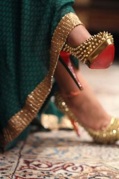 Louboutins and lehenga.   Perfect mix of desi and western style.