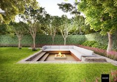 Summer style!! HOT GARDEN TREND!! Seeing outdoor sunken conversation and firepit worldwide! Modern contemporary outdoor garden idea! Amazing outdoor garden sunken conversation fire pit - just wonderful!! Might add umbrellas or even a pergola for some shade ....