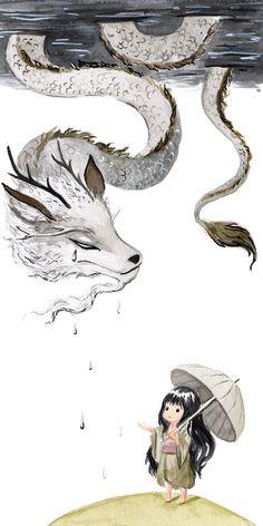 "Saatchi Art Artist: Indrė Bankauskaitė; Watercolor Painting ""Water Dragon"""
