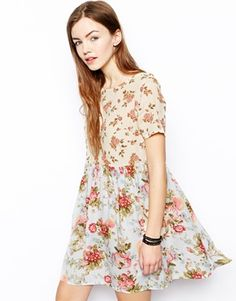 Image 1 of ASOS Smock Dress In Mix And Match Floral Print