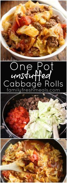 One Pot Unstuffed Cabbage Rolls - A fast, cheap family meal! http://FamilyFreshMeals.com