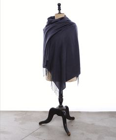 """Check out our Himalyan real Pashmina Shawl, shown here in Charcoal color and Herringbone Weave, with 3"""" Twisted Knot Fringe. Create yours at https://pashm.com/shop/himalayan-cashmere-shawl/"""