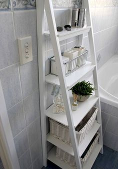 Small Bathroom Storage Solutions and Shelving Ideas bathroom ideas shelving s .Small Bathroom Storage Solutions and Shelving Ideas bathroom ideas shelving s . Small Bathroom Storage Solutions and Shelving Ideas bathroom ideas Small Bathroom Organization, Bathroom Storage Shelves, Home Organization, Bedroom Storage, Bathroom Storage Ladder, Bath Storage, Storage Bins, Ikea Ladder Shelf, Storage Ideas For Bathroom