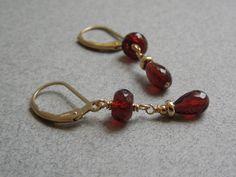 Gemstone Dangle Earrings: AAA Garnets 14K Gold by seemomster