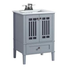 simpli home redford 24 in w vanity in grey with quartz marble vanity top in - Home Depot Salle De Bain Vanite