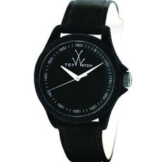 All Black Perfection!! Look at this watch!! Toy Watch Womens Black Velvet Leather Strap Watch PE01BK