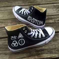 997b5a0a0 Items similar to Custom Hand-Painted Led Zeppelin Converse Shoes on Etsy