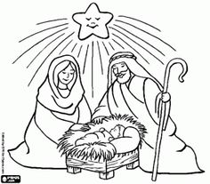 Jesus, Mary and Joseph under the Christmas star coloring page