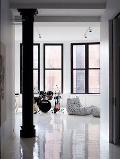 Shiny White Floor Pop Design Concrete Floors Screed Interior Architecture