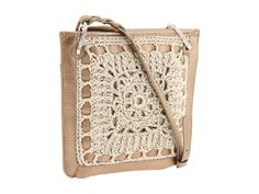 """""""Messenger"""" purses with crochet embellishment from Brighton."""