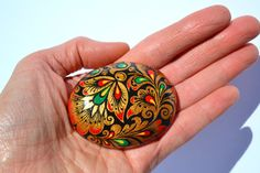 Small Hand Painted Rock Russian Hohloma by PleasureForTheSOUL