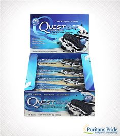 Bite into real cookie crumbles and delicious cream with absolutely no guilt. The Cookies & Cream Quest Protein Bar has 21 grams of protein, tons of fiber and no sugar added. Cheat Clean with the most amazing Quest Bar flavor yet!