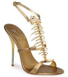 Giuseppe Zanotti Fishbone Heels (Gold)