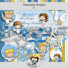 Heavenly Angels is a Christmas kit in blue and white colours, with handdrawn elements. The cute angels will look great on any layout. Heavenly Angels, Angels In Heaven, Digital Scrapbooking, How To Draw Hands, Merry, Blue And White, Layout, Colours, Kit