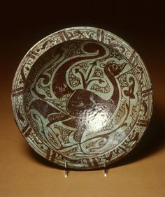 Lusterware Bowl with Peacock Syrian (Artist) 12th-early 13th century (Medieval) fritware with luster decoration (Ceramics)