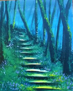 Fairy Tale Forrest painting idea with pretty little blue flowers along the steps and misty blue sky peeking behind the trees. Forest Drawing, Forest Painting, Diy Painting, Painting & Drawing, Fairy Paintings, Fantasy Paintings, Fairy Tale Forest, Night Sky Painting, Wow Art