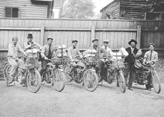 Employees of the Greenville, South Carolina, Post Office pose for a photograph on April 10, 1914. Pictured with their Harley-Davidson and Excelsior motorcycles, from left to right, are Rural Carriers Arthur W. Hill, J. G Huff, Walter C. Stewart, John M. Cochran, and Irby P. Hudson. The two men standing with them are unidentified.