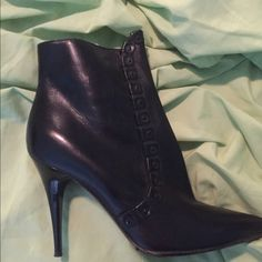 100% authentic Burberry ankle boots NWT These are gorgeous black leather 100% authentic Burberry ankle boots. They have never been worn outside and still have the price on the bottom listing $895!!!!! They are awesome for winter, wearing with a dress or skirt or dressing down with some killer jeans!! Burberry Shoes Ankle Boots & Booties