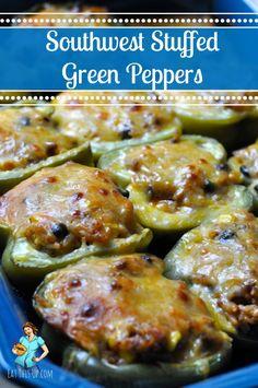 Southwest Stuffed Green Peppers  http://eatthisup.com/southwest-stuffed-green-peppers/