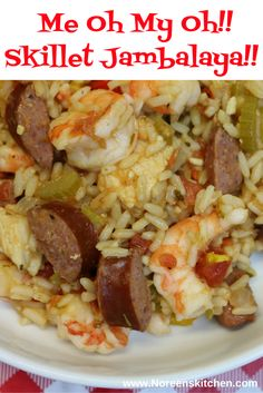 Time to get my Cajun on!  Jambalaya is a favorite dinner in our house.  We don't indulge often, but I don't know why.  This dish is super simple to make and has easily accessible ingredients that you may even have on hand.  I make mine in a skillet in just under 45 minutes time and everyone loves it.  This makes a lot and this recipe will easily serve 12 people a hearty meal.  We always enjoy the leftovers for another dinner and a couple of lunches. My Recipes, Real Food Recipes, Hearty Meal, Jambalaya, Super Simple, Skillet, Mardi Gras, Lunches, Beverage
